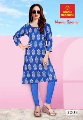 Minu Blue Premium Cotton Long Ethnic Wear Kurtis Kurti