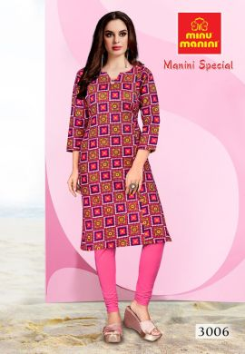Minu Pink Premium Cotton Long Ethnic Wear Kurtis Kurti