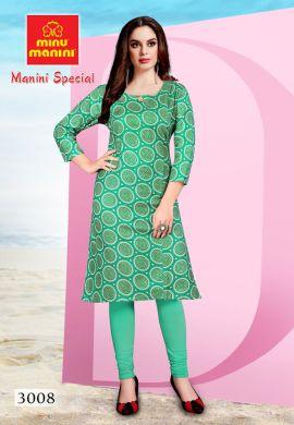 Minu Green Premium Cotton Long Ethnic Wear Kurtis Kurti