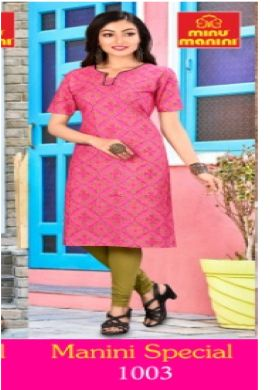 Minu Pink Pure Cotton Designer Top Kurti