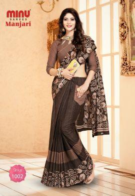 Minu Brown Cotton Designer #Pocketsaree Sarees