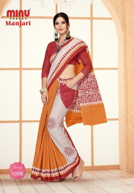 Minu Multi Cotton Designer #Pocketsaree Sarees