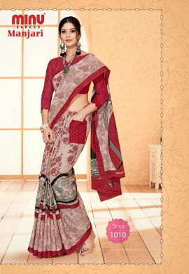 Minu Red Cotton Designer #Pocketsaree Sarees