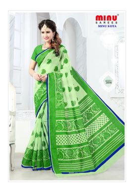 Minu Green Cotton Kota Print With Blouse Peice Sarees