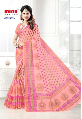 Minu Pink Cotton Kota Print With Blouse Peice Sarees