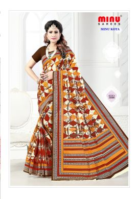 Minu Multi Cotton Kota Print With Blouse Peice Sarees