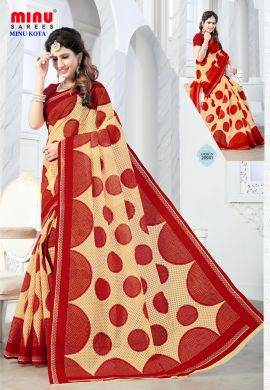 Minu Red Cotton Kota Print With Blouse Peice Sarees