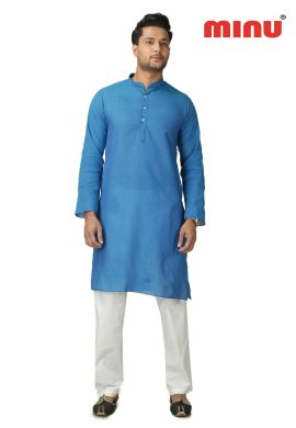 Minu Blue Pure Cotton Kurta Exclusive Newly Launched Menswear