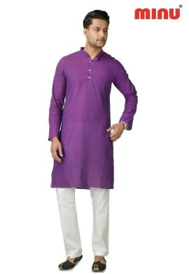 Minu Purple Pure Cotton Kurta Exclusive Newly Launched Menswear