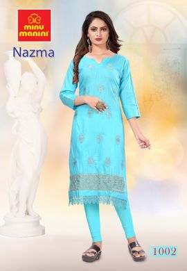 Minu Blue Cotton Embroidered Nazma With Schiffli Lace Kurti