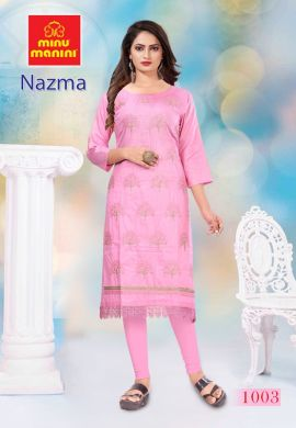 Minu Pink Cotton Embroidered Nazma With Schiffli Lace Kurti