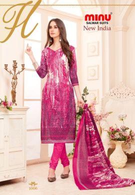 Minu Pink Cotton Printed Designer Salwarsuit
