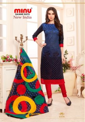Minu Blue Cotton Printed Designer Salwarsuit