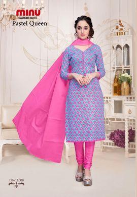 Minu Pink Cotton Floral Print Salwarsuit