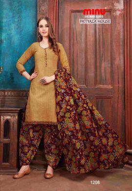 Minu Khaki Minu Cotton Printed Patyala Unstitched Salwar Set Salwarsuit