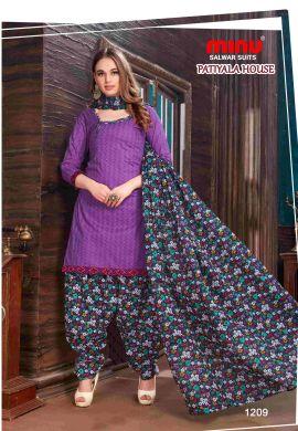 Minu Purple Minu Cotton Printed Patyala Unstitched Salwar Set Salwarsuit
