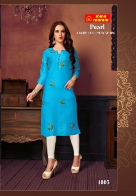 Minu Blue Cotton Satin Embroidered Designer Kurti