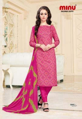 Minu Pink Cotton Printed Fashionable Dress Material Salwarsuit