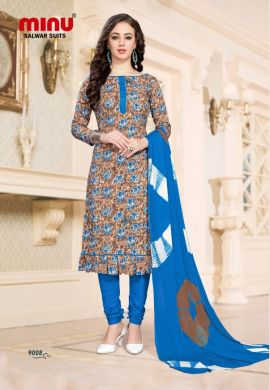 Minu Multi Cotton Printed Fashionable Dress Material Salwarsuit