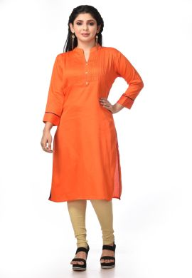 Minu Orange Satin Cotton Kurti