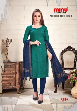 Minu Green Cotton Handloom Designer Salwarsuit