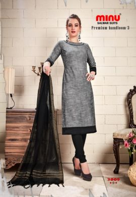 Minu Grey Cotton Handloom Designer Salwarsuit