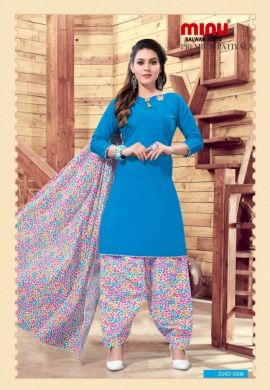 Minu Blue Cotton Patyala Salwarsuit