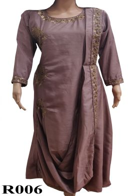 Minu Dark Violet Fabridola Silk With Heavy Work Gown