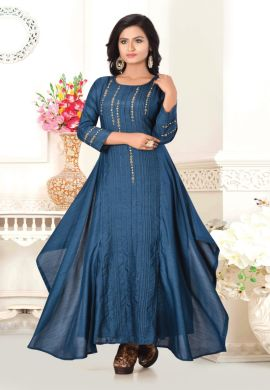 Minu Feroza Blue Designer Fancy Pattern Dola Fabric Gown Gown
