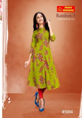 Minu Green Premium Modal Long Ethnic Wear Kurtis Kurti