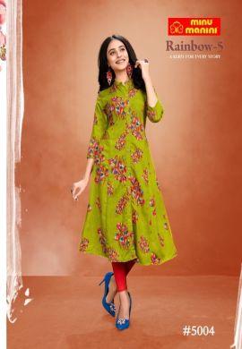 Minu Green Premium Modal Long Ethnic Wear Kurtis Kurti
