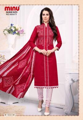 Minu Red Cotton Designer Festive Wear Salwarsuit