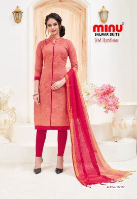 Minu Red Cotton Handloom Festive Wear Salwarsuit