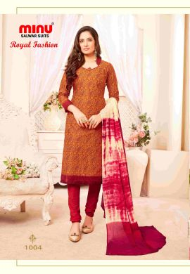 Minu Golden Minu Cotton Printed Unstitched Salwar Set Salwarsuit