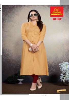 Minu Blonde Yellow Premium Rayon Solid Color Kurti Kurti
