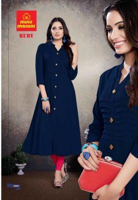 Minu Blue Premium Rayon Solid Color Kurti Kurti