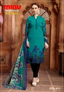 Minu Green Cotton Printed Designer Fashionable Ruchika 2 Salwarsuit