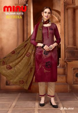 Minu Maroon Cotton Printed Designer Fashionable Ruchika 2 Salwarsuit
