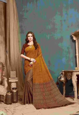 Minu Multi Multi Color Cotton Printed Saree Sarees