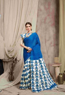 Minu Blue Multi Color Cotton Printed Saree Sarees