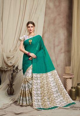 Minu Green Multi Color Cotton Printed Saree Sarees
