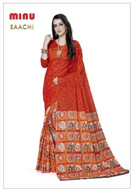 Minu Orange Cotton Printed Designer Fancy Saree Sarees