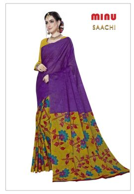 Minu Purple Cotton Printed Designer Fancy Saree Sarees