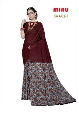 Minu Cherry Red Cotton Printed Designer Fancy Saree Sarees