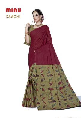 Minu Marron Cotton Printed Designer Fancy Saree Sarees