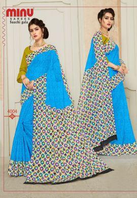 Minu Blue Pure Cotton Designer Printed Sarees