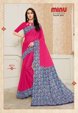 Minu Rani Pink Pure Cotton Designer Printed Sarees