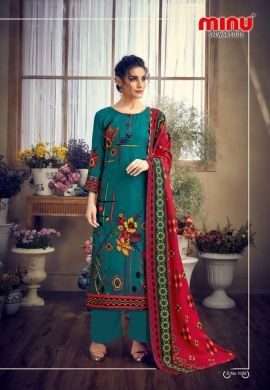 Minu Til Green Pashmina Fabric Winter Collection Salwarsuit