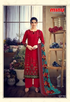 Minu Red Pashmina Fabric Winter Collection Salwarsuit