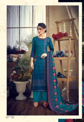 Minu Blue Pashmina Fabric Winter Collection Salwarsuit